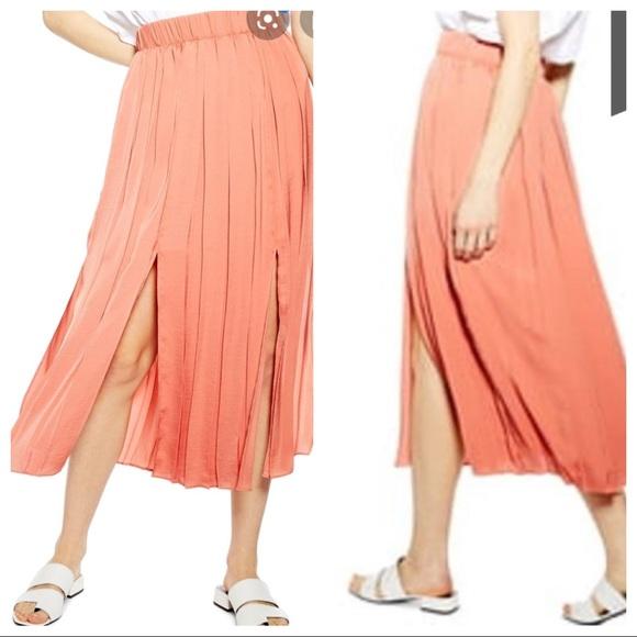 NWT Topshop Coral Slit Satin Midi Skirt